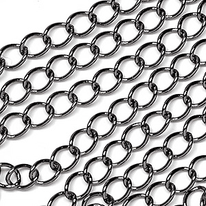 Gunmetal Black Plated Classic 4x5mm Curb Chain Sold by the Foot