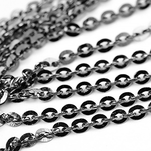 Gunmetal Black 2.5x3mm Mini Flash Chain sold by the foot