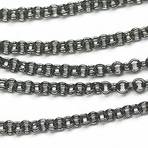 Gunmetal Black 1.5mm Mini Double Rollo Chain sold by the foot