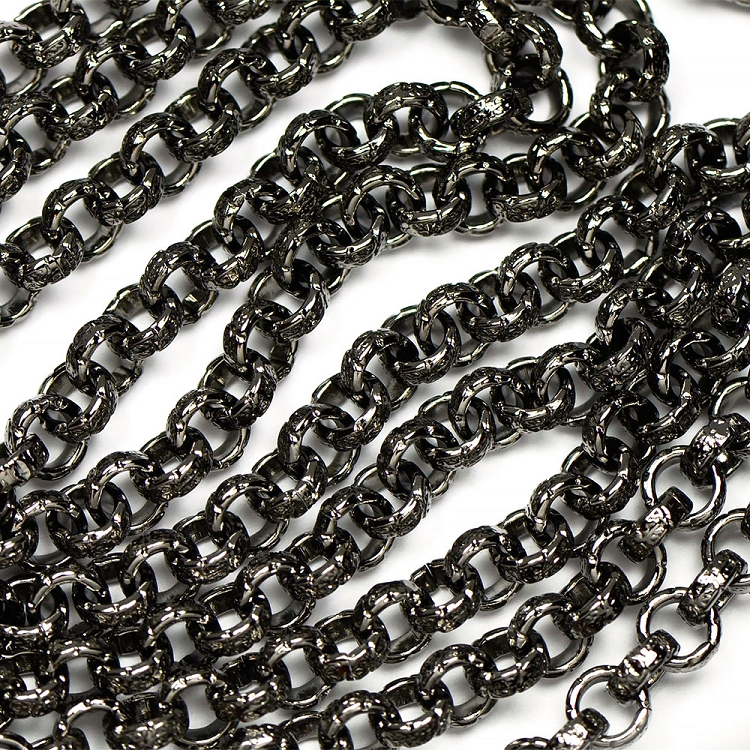 Gunmetal Black Vintage Stamped 6.5mm Rollo Chain