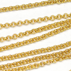 Luxury Gold-Plated Small 1.5mm Mini Double Rollo Chain sold by the foot