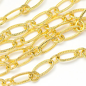Luxury Gold-Plated 3x6.5mm Patterned Elongated Flat Cable Chain sold by the foot