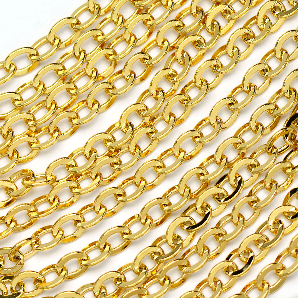 Luxury Gold-Plated 4x5mm Flat Oval Cable Chain sold by the foot