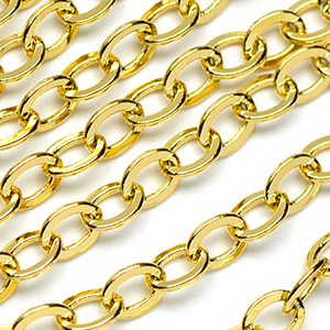 Luxury Gold Plate 3.5x2.25mm Small Flat Cable Chain Sold by the Foot
