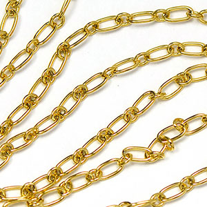 Luxury Gold Plate Tiny 4x2.5mm Long-and-Short Link Chain
