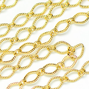 Luxury Gold Plated 5.5x4mm Textured Diamond Link Chain sold by the foot
