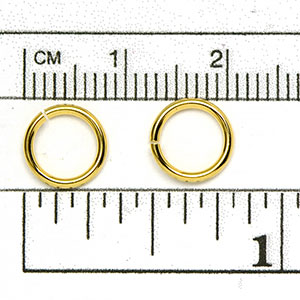 Luxury Gold Plated Jump Ring: 18 gauge 8mm diameter open jump rings (50/pkg)
