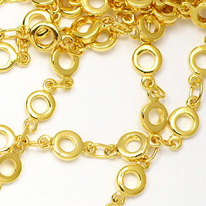 Luxury Gold Plated 4.25mm Handmade Donut Chain sold by the foot