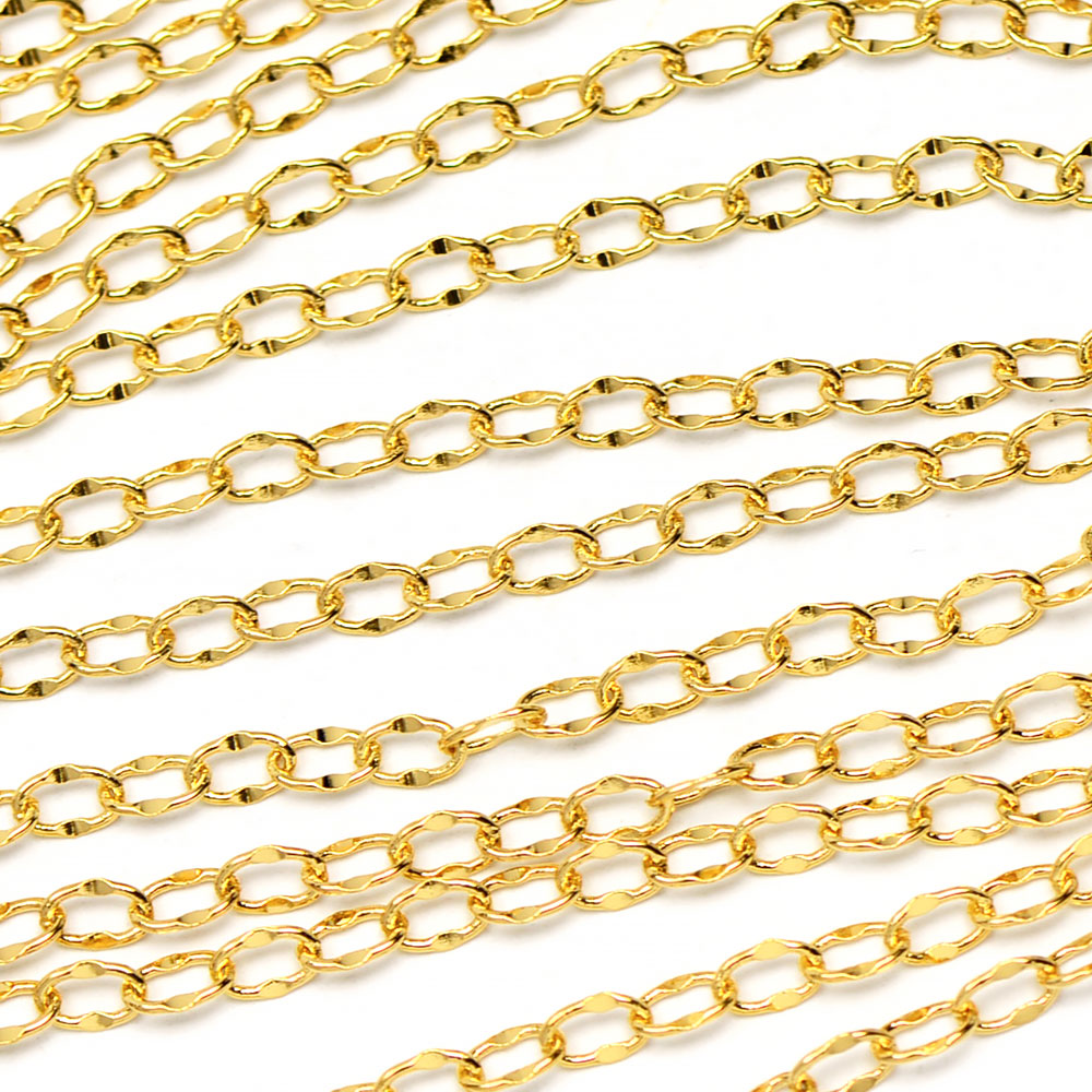 Luxury Gold-Plated 4x2mm Delicate Dapped Cable Chain sold by the foot