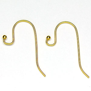 Luxury Gold Plated Ball End Ear Wire  (10/pkg)
