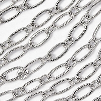 Luxury Rhodium Plated 3x6.5mm Patterned Elongated Flat Cable Chain sold by the foot