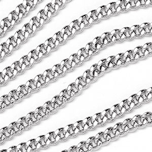 Luxury Rhodium Plated Filed Curb Chain sold by the foot