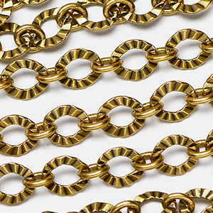Golden Ox 1-to-1 6x5.5mm Crinkle Link Chain sold by the foot