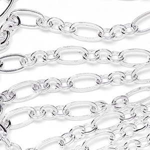 Silver Plate  3.5x6.5mm Medium 3-and-1 Cable Chain Sold by the foot
