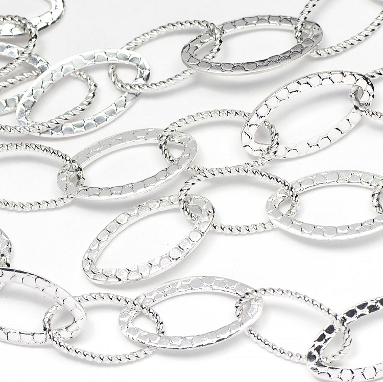 Silver Plated Medium Twist and Pebble Textured Oval Cable Chain sold by the Foot