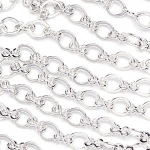 Silver-Plated 3x3.5mm Modified Flat Peanut-Oval Link Cable Chain sold by the foot
