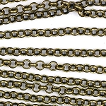 Antique Brass 2.5mm Small Smooth Rollo Chain sold by the foot