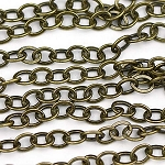 Antique Brass 3.5x2.25mm Small Flat Cable Chain sold by the foot