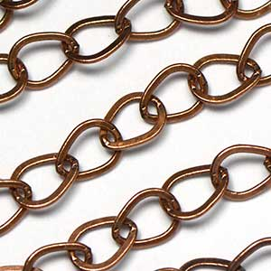 Antique Copper Ox 6x7.75mm Teardrop Link Chain by the Foot