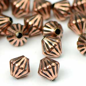 Antique Copper Fluted Diamond Bead (50/Pkg)