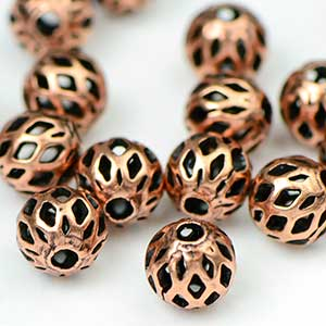 Premium Plated Antique Copper Ox 6MM Lattice Bead (25/Pkg)