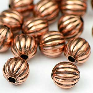Premium Plated Antique Copper OX Corrugated Bead 6MM  (25/pkg)