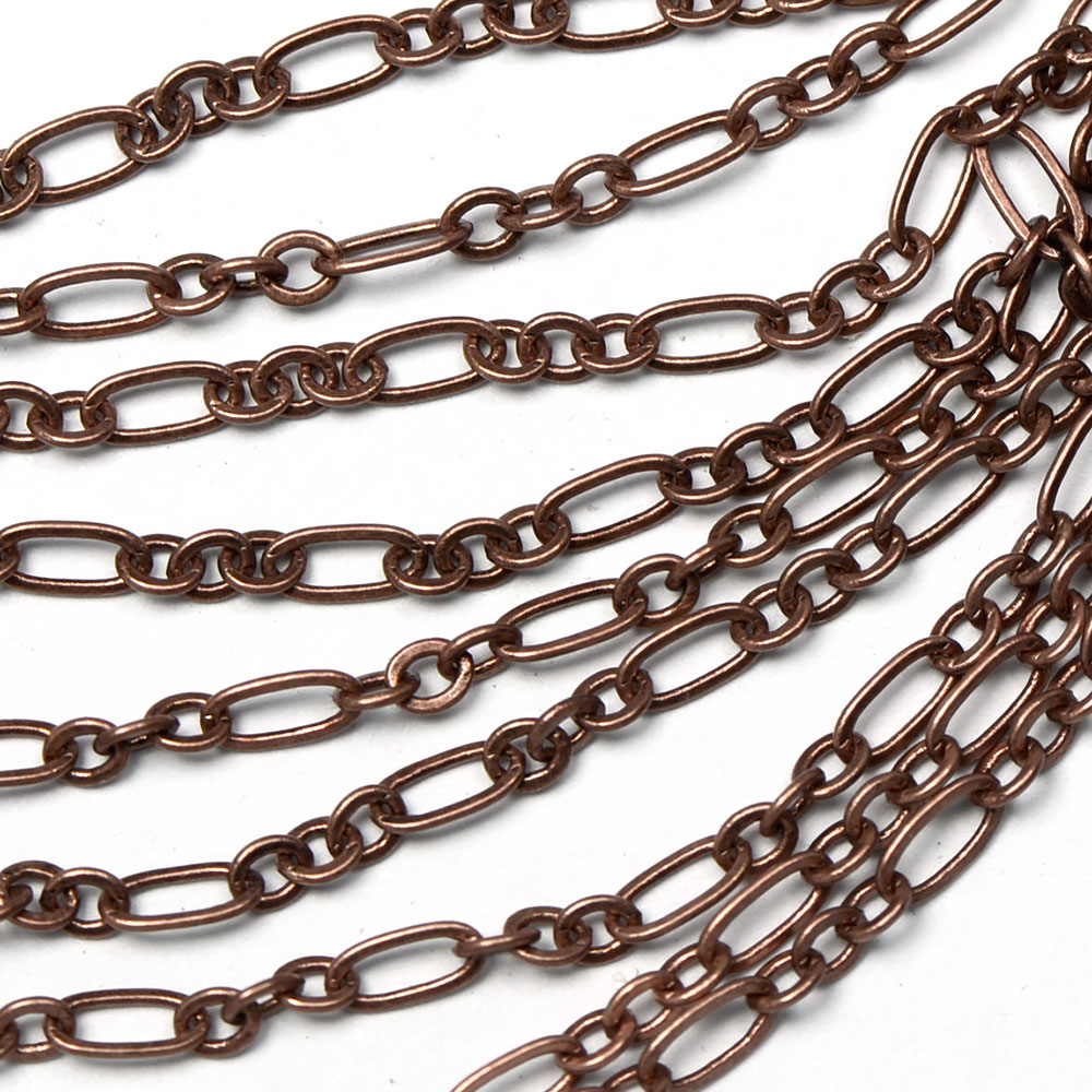 Antique Copper Small 2x4.5mm 3-and-1 Cable Chain sold by the foot