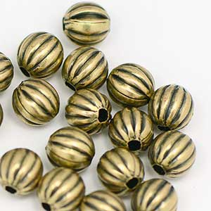 Premium Plated Antique Brass OX Corrugated Bead 6MM  (25/pkg)