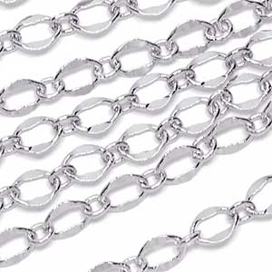 Luxury Rhodium Plated Dapped 1 to 1 Chain
