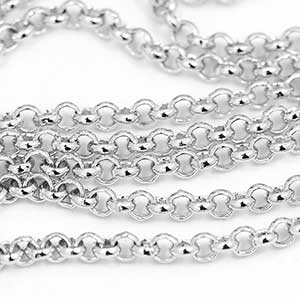 Luxury Pure Rhodium Plate 2MM Rolo Chain by the Foot