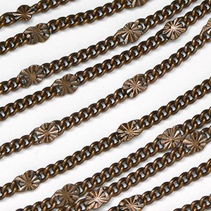Antique Copper Plated Star Link Chain Sold by the Foot