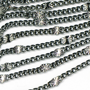Gunmetal Black Plated Star Link Chain Sold by the Foot