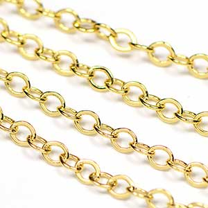 Luxury Gold Plated 2.25x1.75mm Tiny Flat Cable Chain sold by the Foot