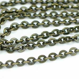 Antique Brass Mini Flash Chain by the foot
