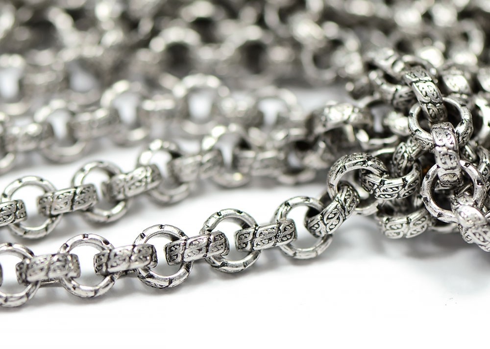 Antique Silver Vintage Stamped 6.5mm Rolo Chain sold by the foot