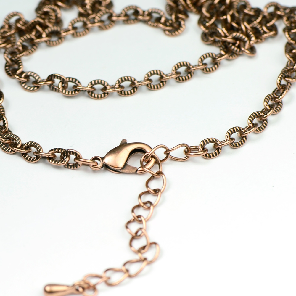 Antique Copper Finished Textured Link Necklace Chain (18