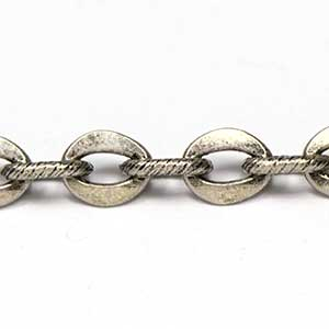 Vintage Antique Silver Flat and Spiral Link Art Chain
