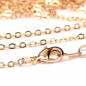 1mm Flat Cable Finished Necklace Chain plated with Luxury Rose Gold