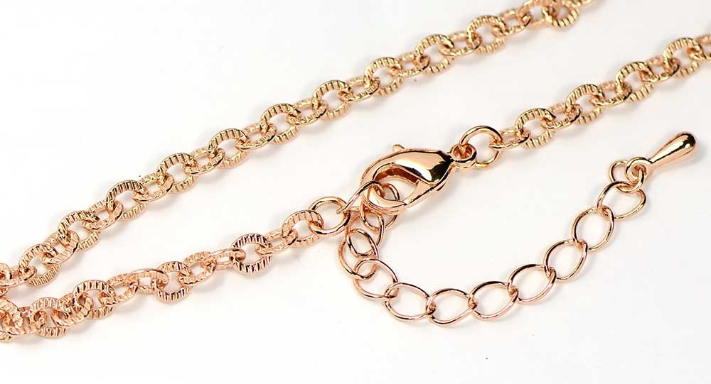Rose Gold Finished Textured Link Necklace Chain (18