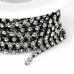 Gunmetal-Black/3mm-Colorless Crystal Rhinestone Chain (per 25-foot section)