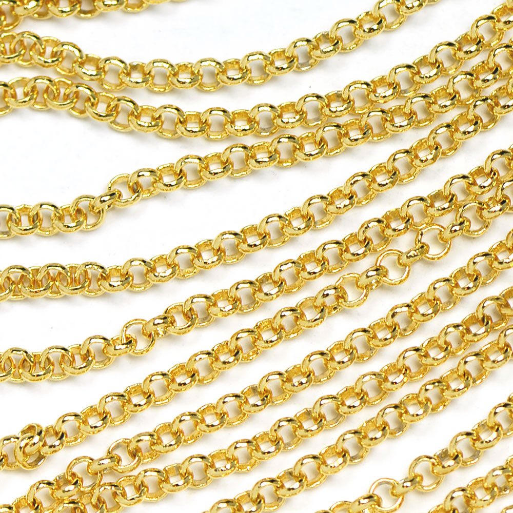 2mm by the Foot Matte Gold Plated Teardrop Krinkle Chain