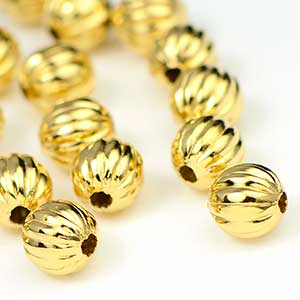 Luxury Gold Plated Corrugated Bead 6MM  (25/pkg)