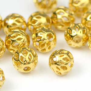 Luxury Gold Plated 6MM Lattice Bead (25/Pkg)