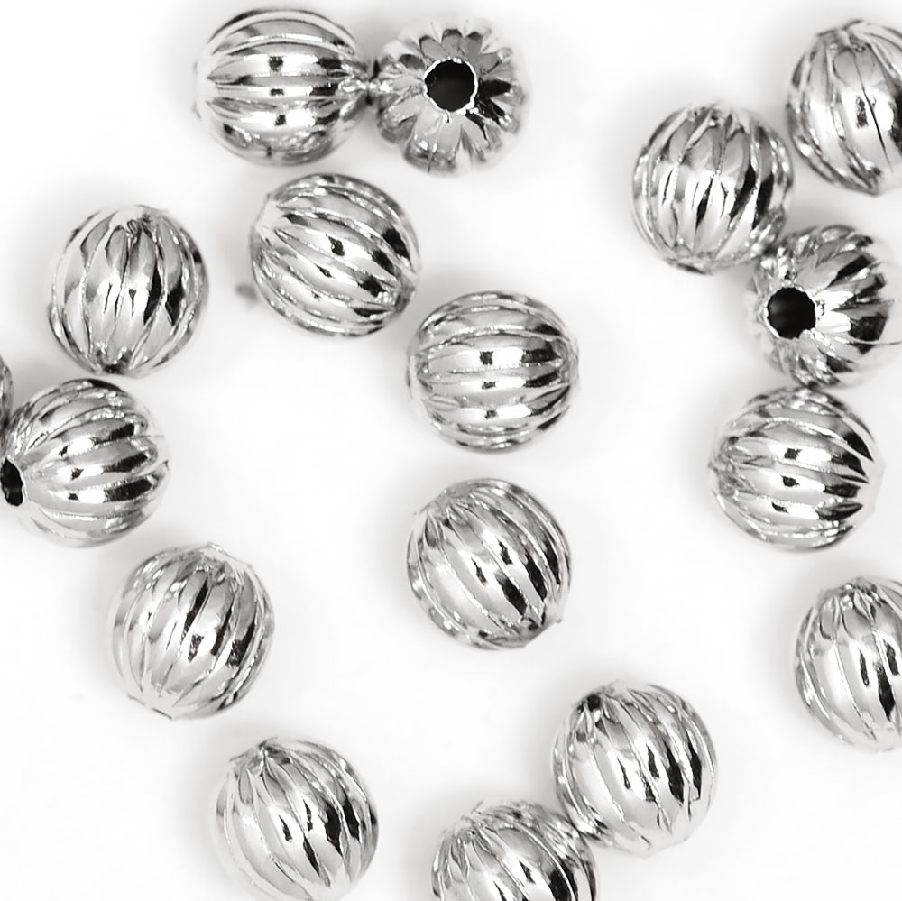 Luxury Rhodium Plated Corrugated Bead 6MM  (25/pkg)