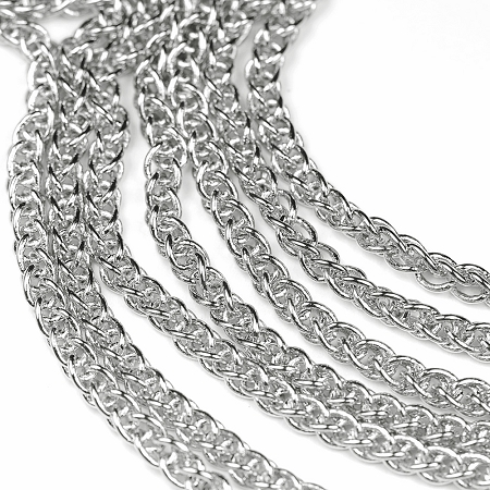 Luxury Rhodium Plated Modern Weave Chain by the foot at Chainologie.com