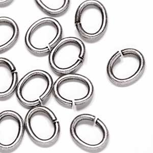Antique Silver OX Plated 6 x 7.44 Oval Jump Ring (50/pkg)
