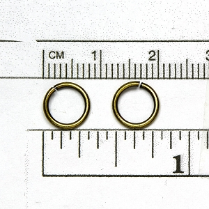 Antique Brass Plated Jump Ring: 18 gauge 8mm diameter open jump ring (50/pkg)