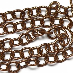 Antique Copper OX Plated Textured Flat Wire Chain
