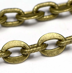 Vintage Antique Brass Flat and Spiral Link Art Chain