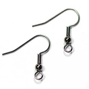 Gunmetal Plated Ball and Coil Ear Wire (10/pkg)